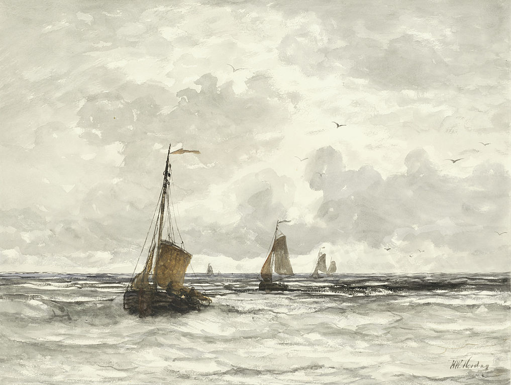 Fishing Boats in the Surf by Hendrik Mesdag