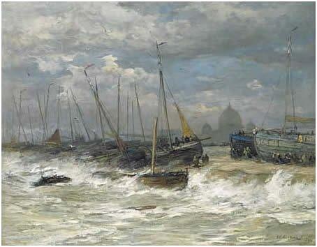 Gales in Scheveningen by Hendrik Mesdag (1894)