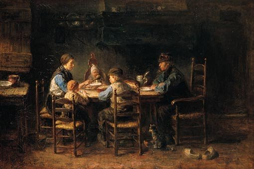 Peasant Family at Table,  by Jozef Israels (1882)