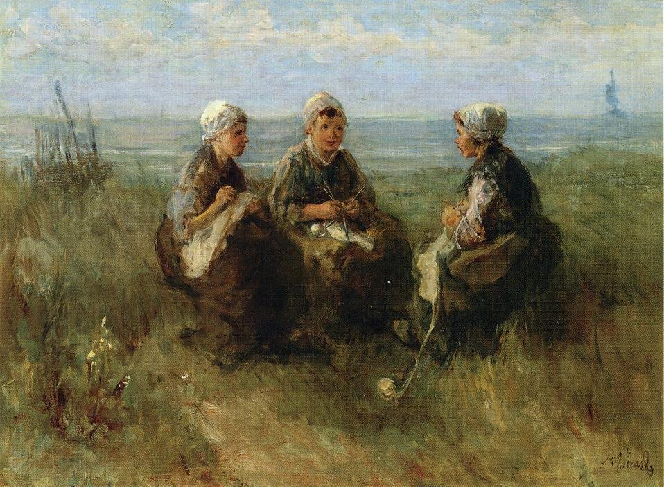 Three Women Knitting by the Sea by Jozef Israels