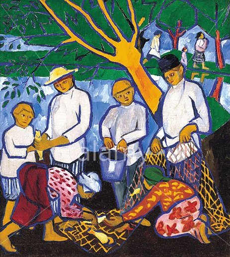 Fishing by Natalia Goncharova (1909)