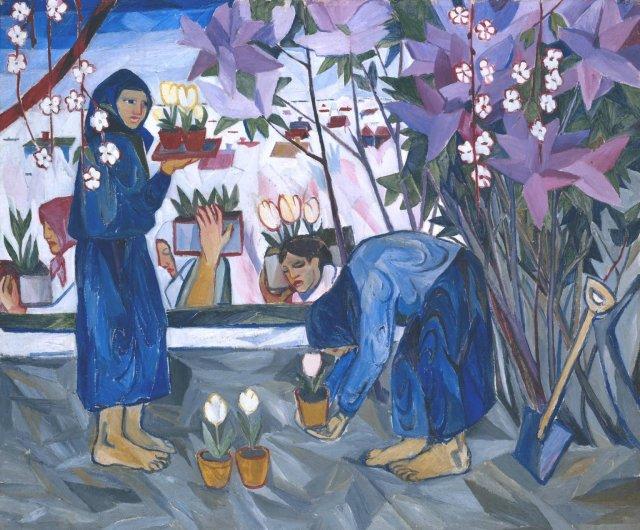 Gardening by Natalya Goncharova (1908)