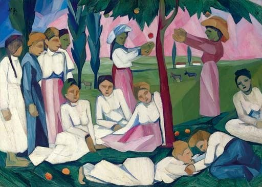 Picking Apples by Natalia Goncharova (1909)