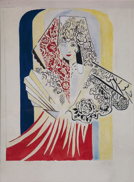 Project poster for the ballet by Manuel de Falla, El amor brujo by Natalia Goncharova (1935)