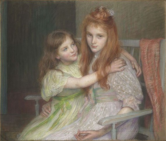 Two young girls sitting on a banquette by Louise Breslau (1896)