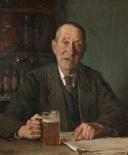 A Man with a Pint by Fred Elwell (1932)