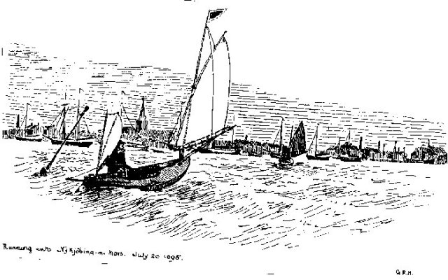 A pen and ink sketch of a canoe-yawl by George Holmes