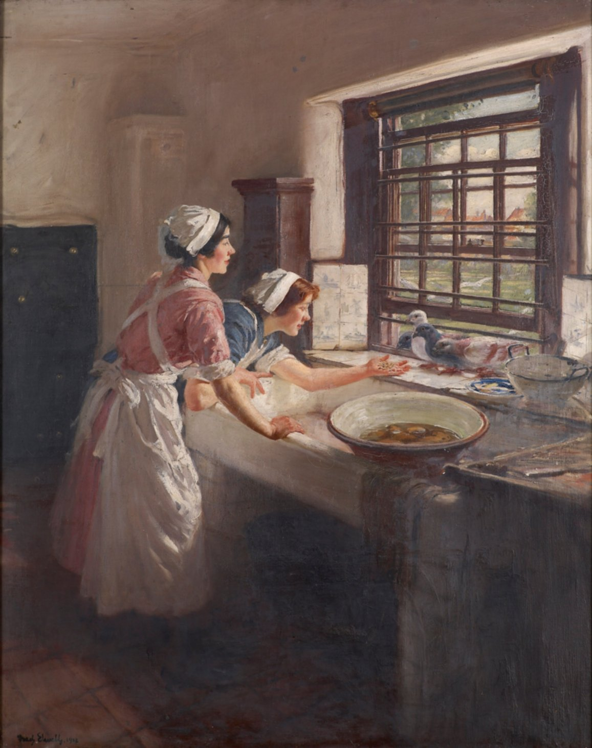 Maids with Pigeons by Feed Elwell (1916)