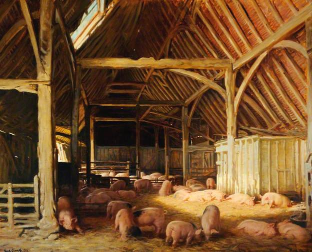 Pigs in Barn by Fred Elwell (1937)