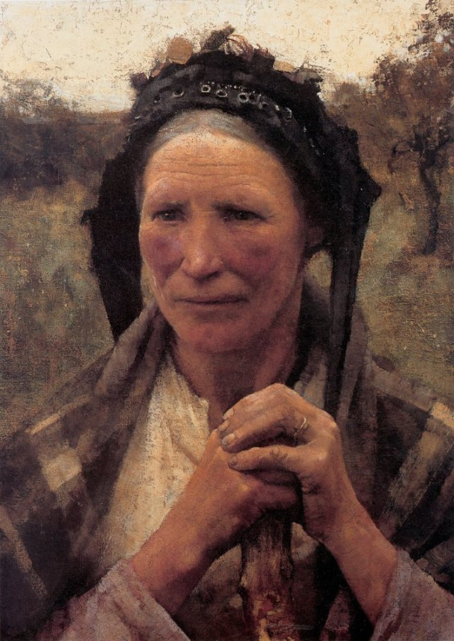 Head of a Peasant Woman by George Clausen (1882)