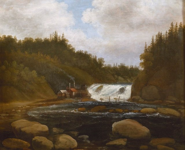Landscape with Mill and Rapids by Peder Balke (1840)