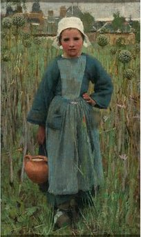 Peasant Girl Carrying a Jar, Quimperlé by George Clausen (1882)