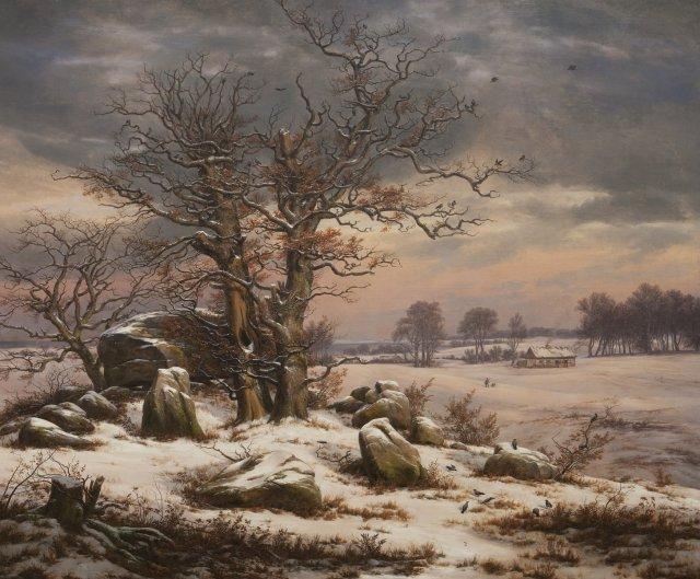 Winter Landscape. Near Vordingborg, by Johan Christian Dahl  (1827)