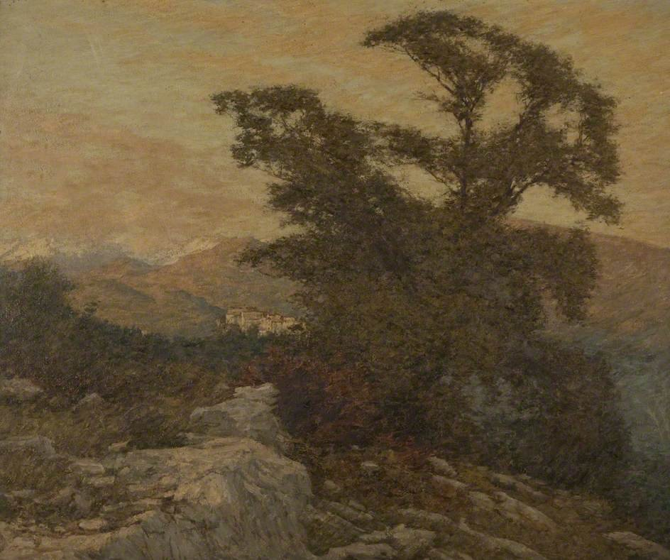 A Mountain Frontier by Henry Herbert La Thangue (1910)