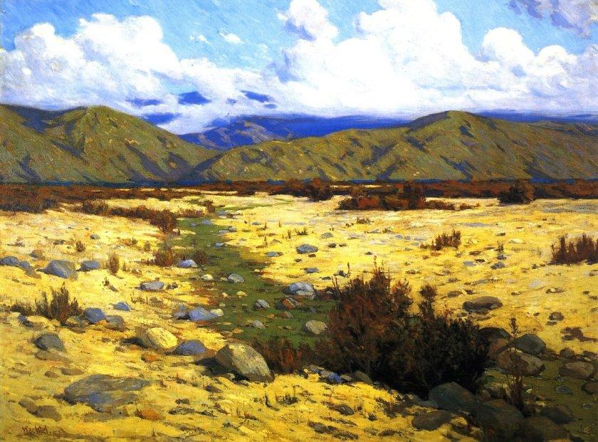 Desert, River, Mountains by Elmer Wachtel