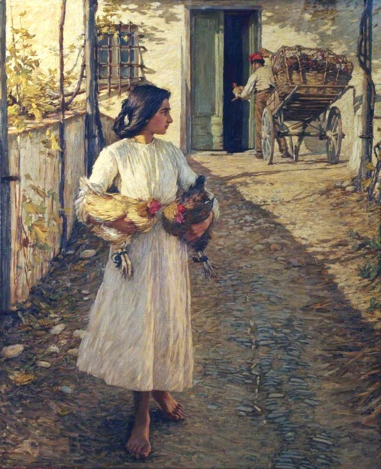 Selling Chickens in Liguria by Henry Herbert La Thangue (1906)