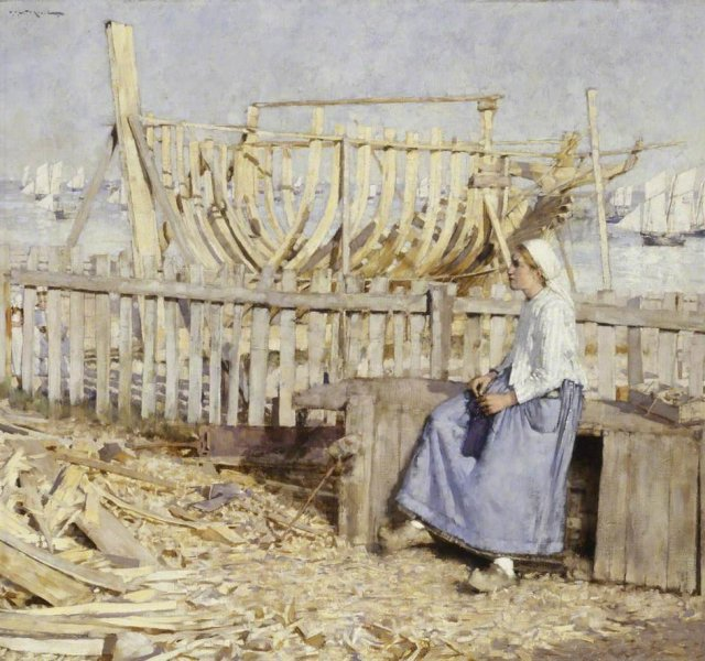 The Boat Builder's Yard by Henry Herbert La Thangue (1881)