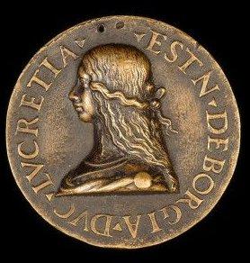 1502 coin featuring Lucrezia Borgia