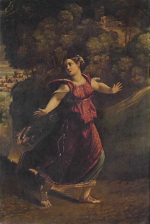 A woman fleeing on a wooded path by Dosso Dossi (c.1542)