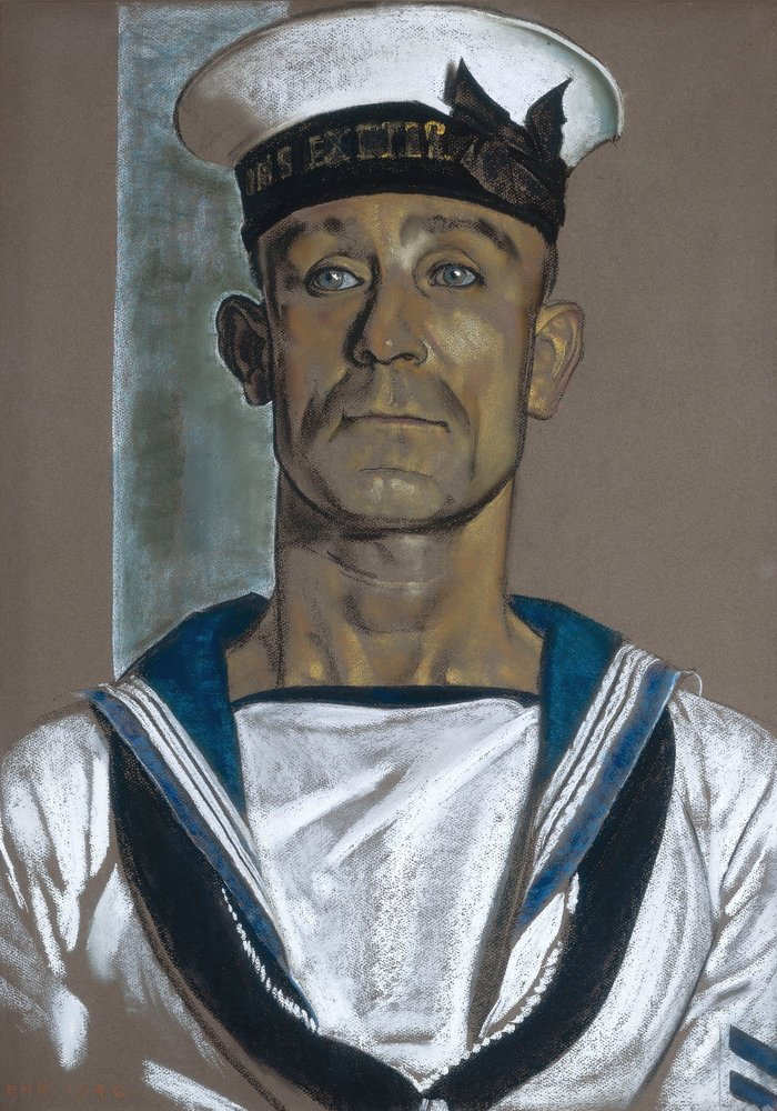 Portrait of Stoker A.Martin of HMS Exeter by Eric Kennington