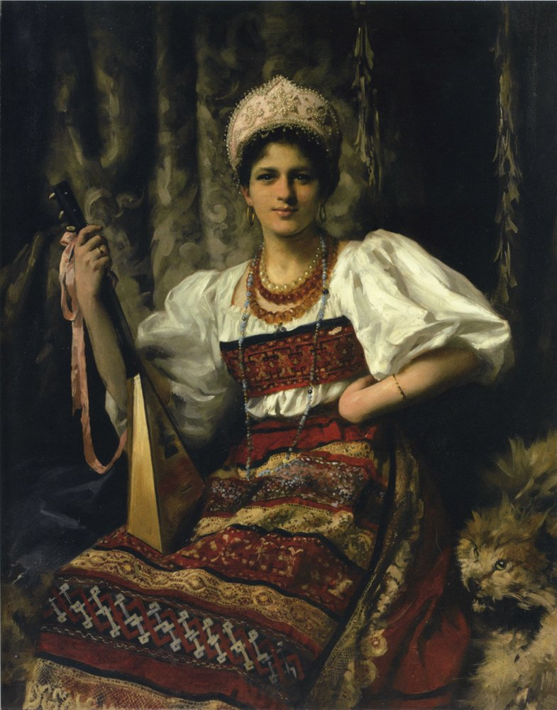 Portrait of the Artist's Daughter Anne in Russian Costume Holding a Balilaika by Thomas Kennington