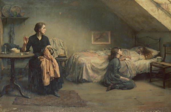 Widowed and Fatherless by Thomas Kennington (1888)