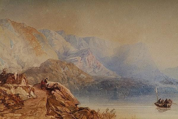 A highland lake landscape, with figures by a cottage before, and fishermen in a boat, by Edwin Moore