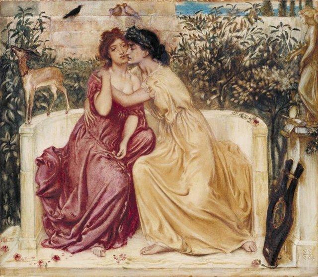 Sappho and Erinna in a Garden at Mytilene by Simeon Solomon (1864)