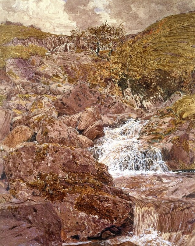 Waterfall in the Lake District by Albert Moore (c.1858)