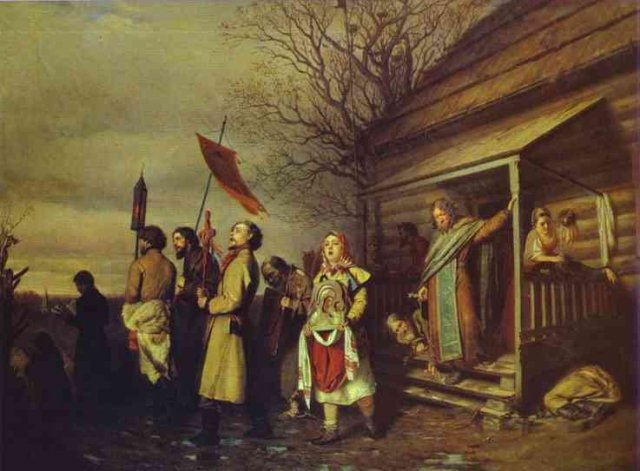 The Village Religious Procession at Easter by Vasily Perov (1861)