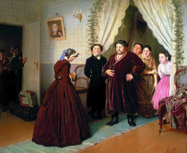 The Arrival of the Governess at a Merchant's House by Vasily Perov (1866)