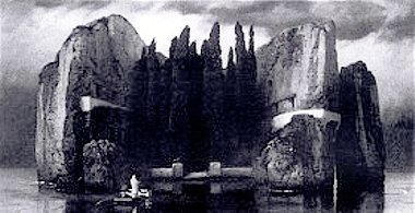 Black and white photograph of the fourth version of Die Toteninsel (1844)