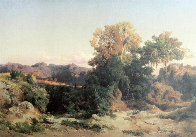 Landscape from the Alban Hills by Arnold Böcklin (1851)