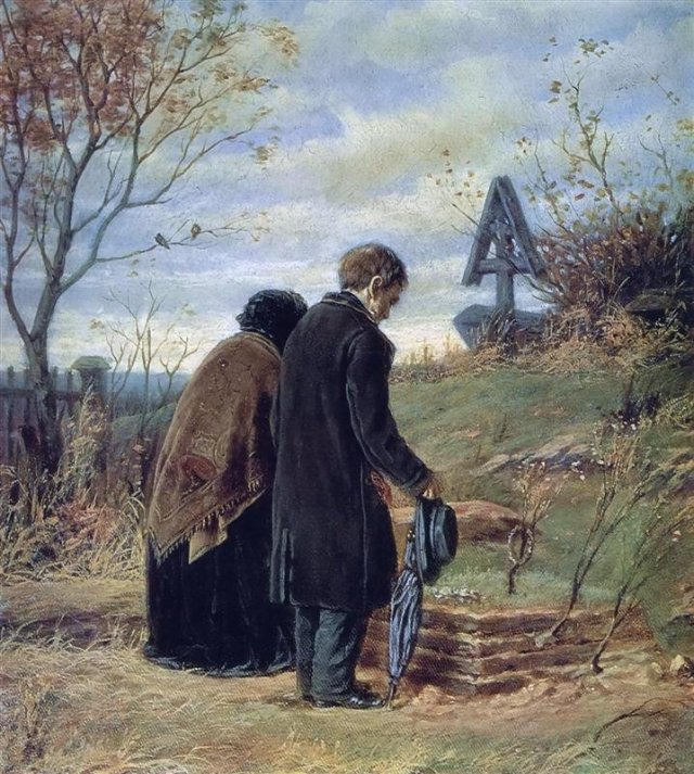Old Parents Visiting the Grave of Their Son by Vasily Perov (1874)