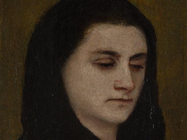 Mrs Böcklin with Black Veil by Arnold Böcklin (1863)