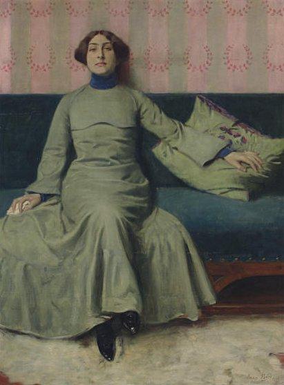 Portrait der Schwester des Künstlers (Baladine Klossowski) by Eugen Spiro (1902)