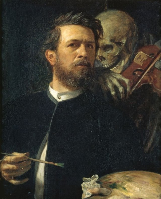 Self portrait with Death as the Fiddler by Arnold Böcklin (1872)