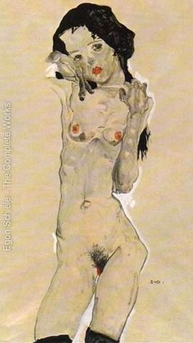 Standing nude young girl 2 by Egon Schiele (c.1911)