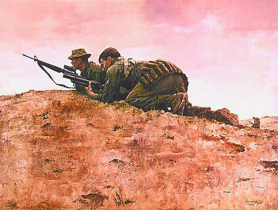 Moving Up Marines South of Hoi An, South Vietnam, 1968, by Howard Terpning