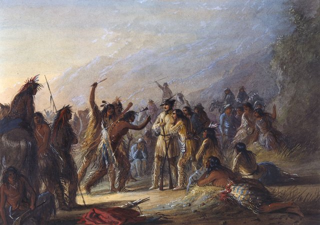 Attack by Crow Indians by Alfred Jacob Miller (1837)