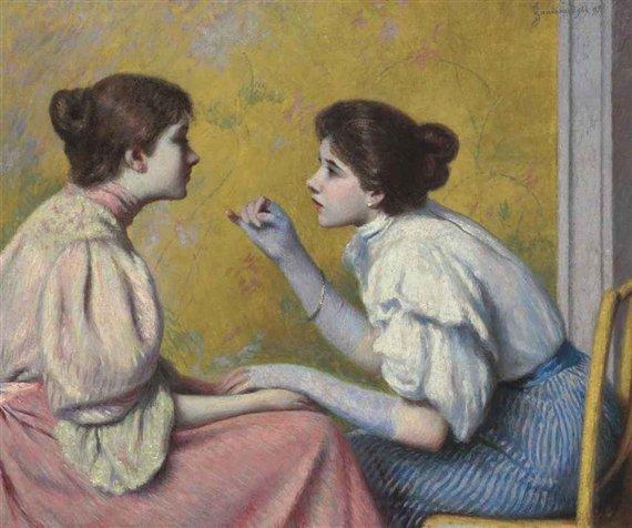 Conversazione interessante by Federioco Zandomeneghi (1895)