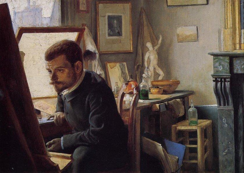 Felix Jasinski in His Printmaking Studio - Felix Vallotton (1887)