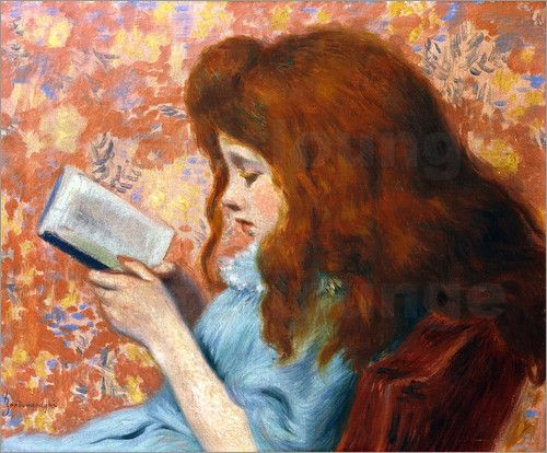Lesendes Mädchen (Girl reading) by Federico Zandomeneghi (c.1900)