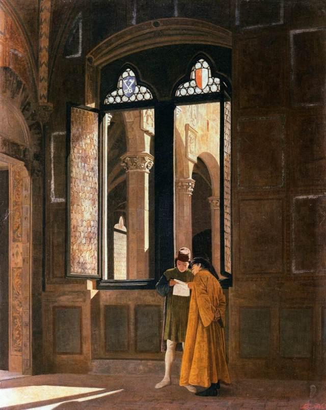 Palazzo Pretorio in Florence by Federico Zandomeneghi (1865)