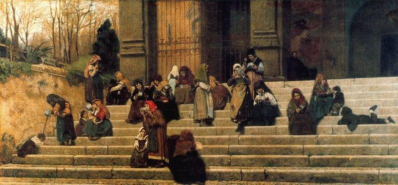 The Poor on the Steps of Ara Coeli in Rome by Federico Zandomeneghi (1872)