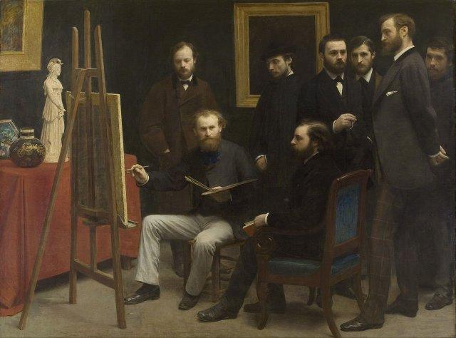 A Studio at Les Batignolles, Un atelier aux Batignolles by Henri Fantin-Letour (1870)