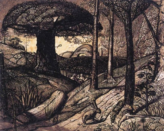 Early Morning by Samuel Palmer (1825) Pen and ink and wash, mixed with gum arabic, varnished,