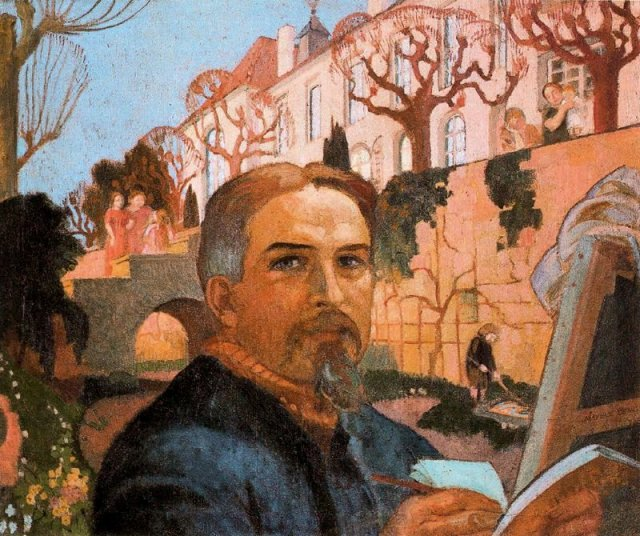 Self-Portrait with his Family in Front of Their House by Maurice Denis (1916)