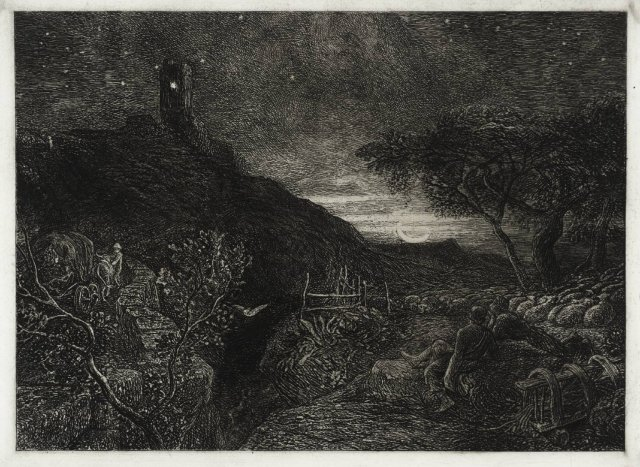 The Lonely Tower by Samuel Palmer (1879)