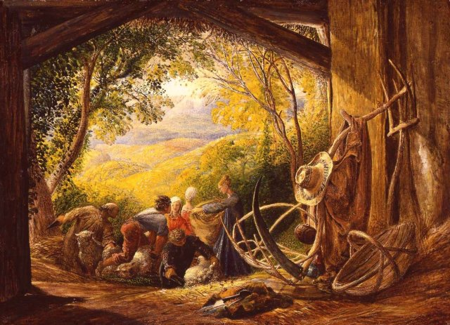 The Shearers by Samuel Palmer (1834)